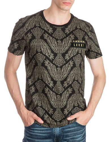 Guess Diplo Eagle Graphic Cotton T-Shirt-BLACK-Large