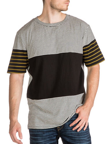Guess Blocked Stripe Cotton T-Shirt-GREY-Medium