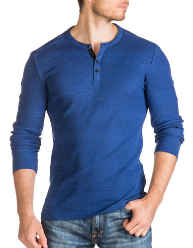 Guess Waffle-Knit Henley-BLUE-Large