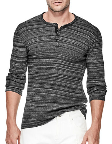 Guess Waffle-Knit Henley-BLACK-X-Large
