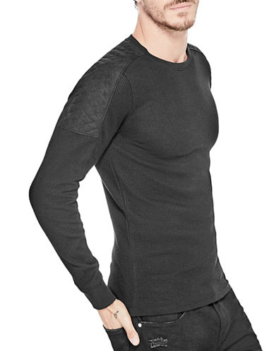 Guess Quilted Detail Knit Shirt-BLACK-X-Large