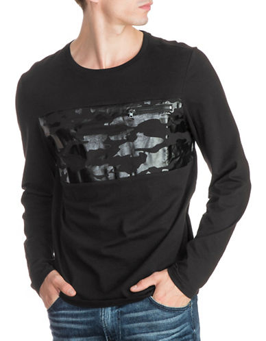 Guess Tonal Camo Foil Graphic Cotton Shirt-BLACK-X-Large