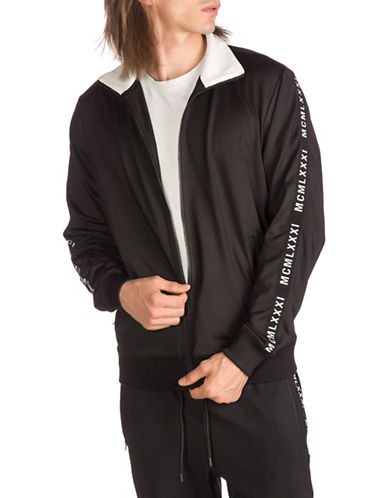 Guess Keith Striped Track Jacket-BLACK-Large