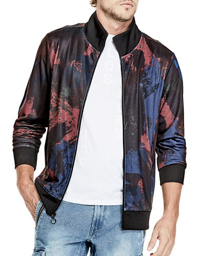 Guess Keith Paint Splatter Jacket-BLACK-XX-Large