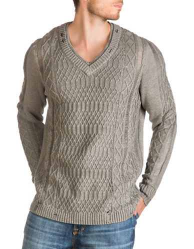 Guess Destroyed Cable-Knit Sweater-GREY-Medium