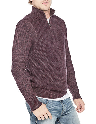 Guess Mixed-Knit Cotton Sweater-RED-Large