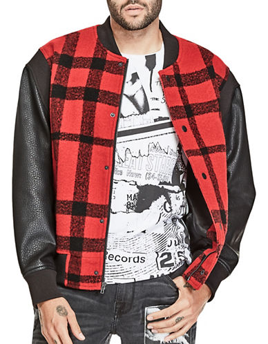 Guess Buffalo Check Bomber Jacket-RED-Medium