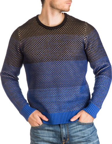 Guess Ombre Crewneck Sweater-BLUE-Medium