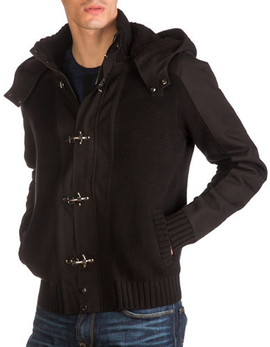Guess Hooded Toggle Sweater-BLACK-Large