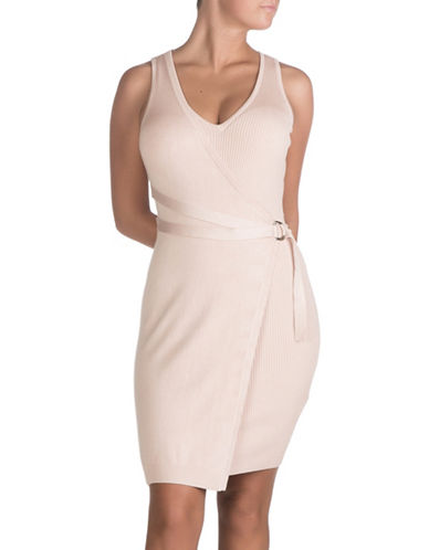 Guess Allison Faux-Wrap Sweater Dress-CAMEO ROSE-Large