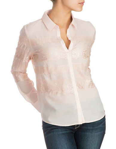 Guess Lace Button-Down Shirt-PINK-Small
