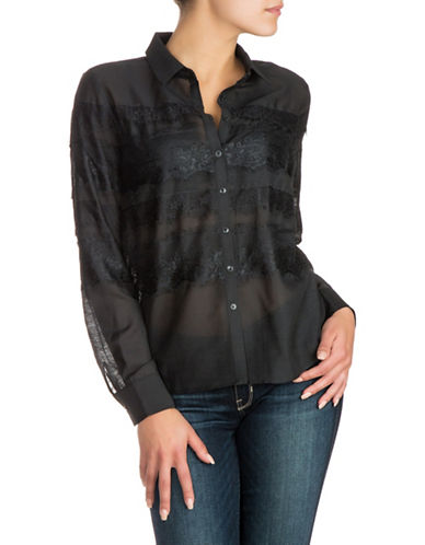 Guess Lace Button-Down Shirt-BLACK-Small