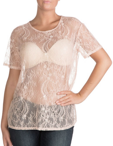 Guess Lovers Lace Tee-ROSE CLOUD-Small