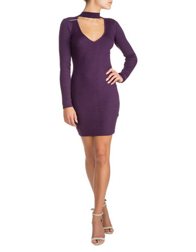 Guess Mock neck Choker Dress-PURPLE-Small