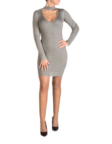 Guess Cutout Bodycon Dress-GREY-Large