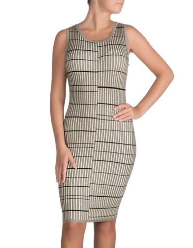 Guess Wren Plaited Stripe Bodycon Dress-ARMY LOVE-Large