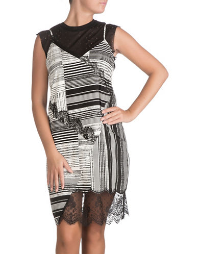 Guess Two-Piece Aziz Striped Dress and Laser-Cut Top Set-RAVEN-Large