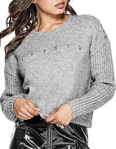 Guess Grommet Ring Sweater-GREY-X-Small