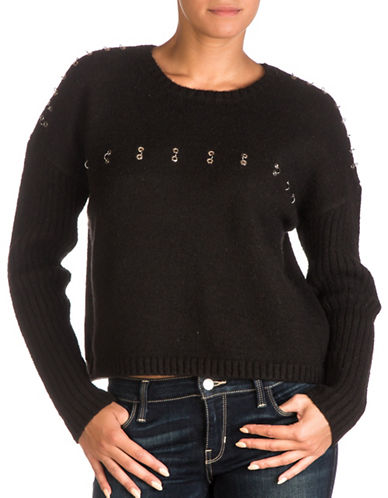 Guess Grommet Ring Sweater-BLACK-X-Large