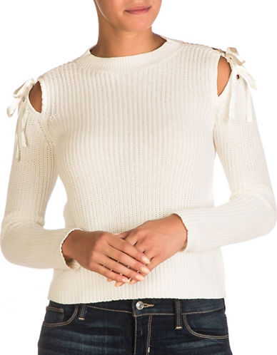Guess Karin Shoulder Tie Sweater-WHITE-Large