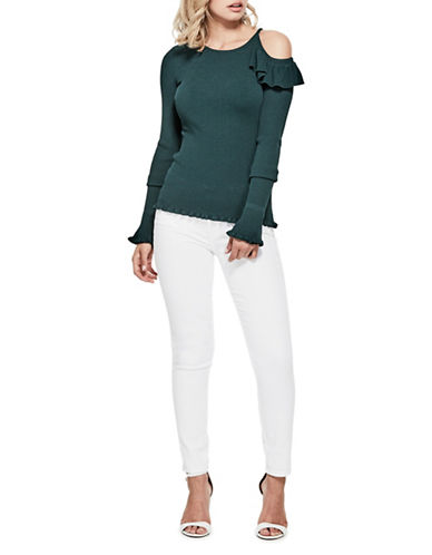 Guess Brook Cold-Shoulder Sweater-GREEN-X-Large