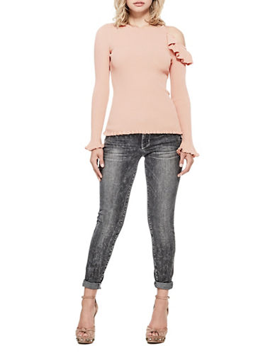 Guess Brook Cold-Shoulder Sweater-PINK-Medium