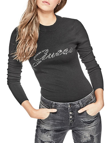 Guess Holly Snap Logo Sweater-BLACK-Small