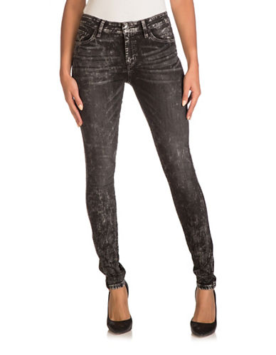 Guess Marble Mid-Rise Skinny Jeans-GREY-30