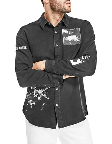 Guess Slim-Fit Denim Sport Shirt-BLACK-Small