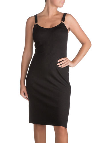 Guess Kendall Bullring Tank Midi Dress-JET BLACK-X-Small