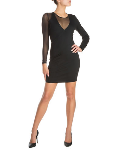 Guess Nyla Mesh Bodycon Dress-BLACK-X-Large