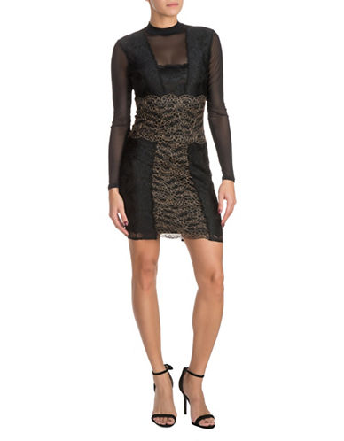 Guess Lace Bodycon Dress-BLACK-X-Small