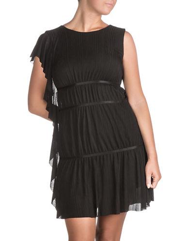 Guess Asymmetrical Tyra Plisse Dress-JET BLACK-X-Large