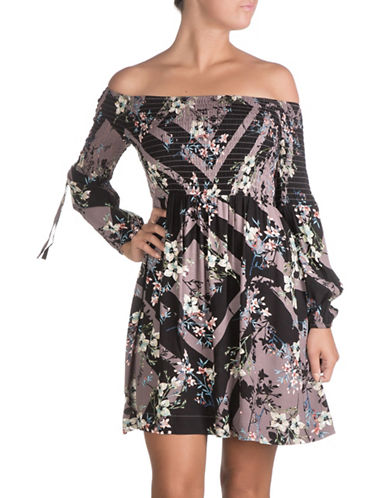 Guess Amalia Off Shoulder Dress-BLACK MAGIC-X-Large