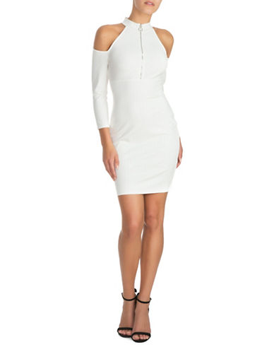 Guess Cold Shoulder Zip-Up Dress-WHITE-Small