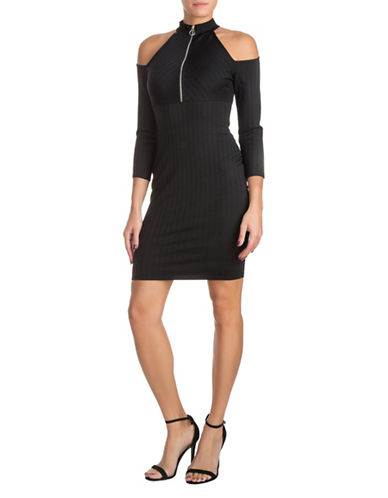 Guess Cold Shoulder Zip-Up Dress-BLACK-Medium
