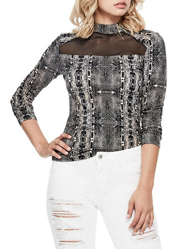 Guess Dalia Mesh-Inset Print Top-BLACK-X-Small