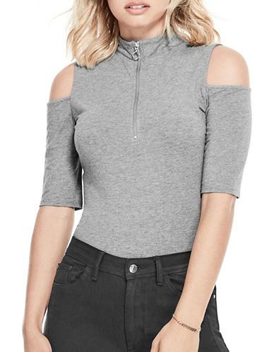 Guess Betsey Cold-Shoulder Top-GREY-Small