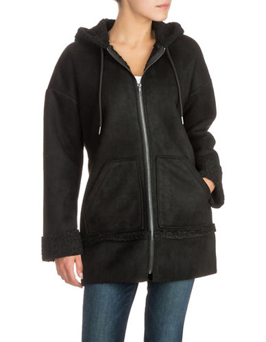 Guess Yesmin Hooded Faux-Fur Trimmed Coat-BLACK-X-Small