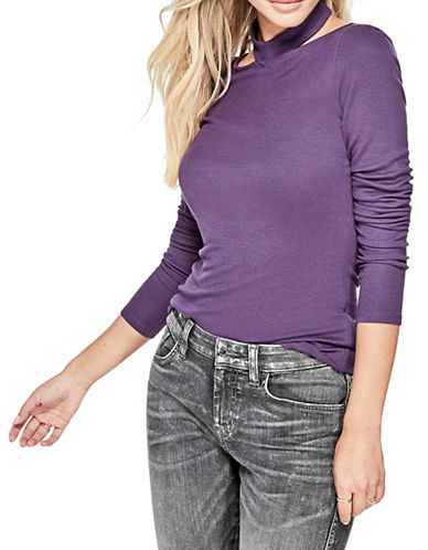 Guess Dayana Choker Top-PURPLE-Large