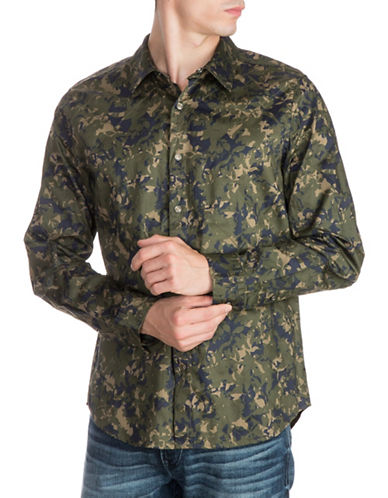 Guess Cypress Camouflage Cotton Sport Shirt-GREEN-X-Large