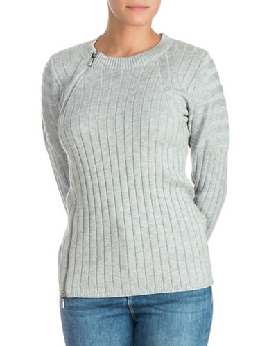 Guess Shena Ribbed Sweater-GREY-Large