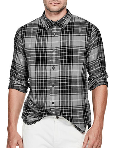 Guess Punk Plaid Sport Shirt-BLACK-Large