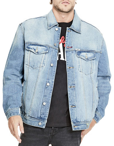 Guess Oversized Denim Cotton Jacket-BLUE-Medium