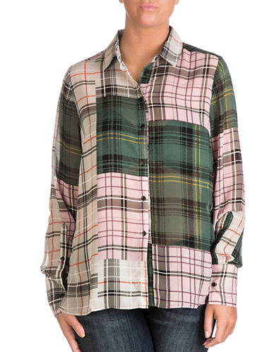 Guess Valeria Plaid Button-Down Shirt-PURPLE MULTI-Large