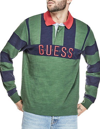 Guess Caleb Cotton Rugby Polo-GREEN-Large