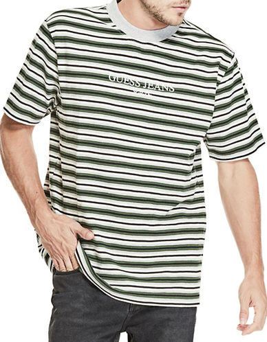 Guess Alameda Stripe Cotton T-Shirt-BLUE-Medium
