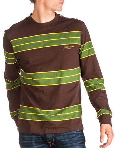 Guess Cobain Striped Cotton Sweatshirt-BROWN-Medium