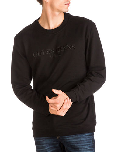 Guess Rex Crew Sweatshirt-BLACK-Medium