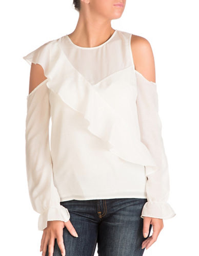 Guess Gloria Cold Shoulder Top-WHITE-X-Small